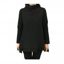 TADASHI blusa donna nero asimmetrica con tasche mod TAI192094 MADE IN ITALY