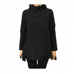 TADASHI woman blouse black asymmetric with pockets mod TAI192094 MADE IN ITALY
