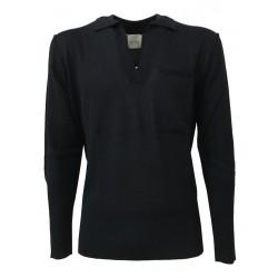 BELLWOOD maglia uomo polo blu 50% lana 50% acrilico MADE IN ITALY