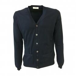 ALPHA STUDIO men's cardigan blue slim fit mod AU-7002E 100% cotton