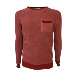 ALPHA STUDIO men's sweater red slim mod AU-7050C 100% cotton MADE IN ITALY