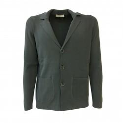 ALPHA STUDIO men's cardigan titanium color mod AU-7090E 100% cotton