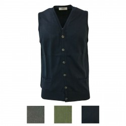 ALPHA STUDIO men's vest with buttons mod AU-7003DS 100% cotton