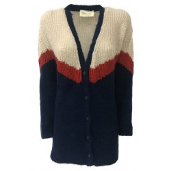 CHIARA BERTANI cardigan donna blu/ecru/rosso lurex MADE IN ITALY