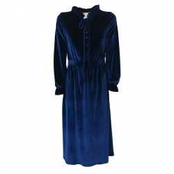 LOUXURY abito donna velluto liscio bluette mod LULU DRESS MADE IN ITALY