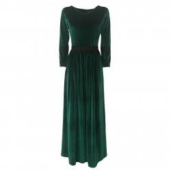 LOUXURY abito donna lungo velluto verde operato dettagli in pizzo mod LARA 64