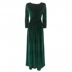 LOUXURY women's dress velvet green with lace details mod LARA 64