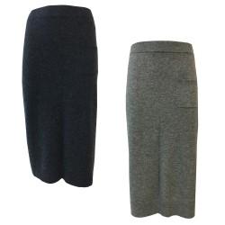 CA' VAGAN gonna donna lana con spacco laterale e tasca applicata 11602 BIS MADE IN MONGOLIA