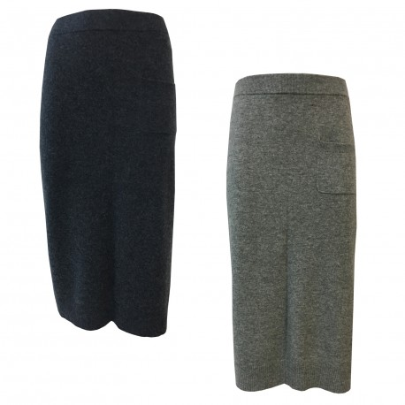 CA' VAGAN women's wool skirt with side slit and applied pocket mod. 11602 BIS MADE IN MONGOLIA