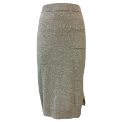 CA' VAGAN women's wool skirt with side slit and applied pocket 100% CASHMERE mod. 11602 BIS MADE IN MONGOLIA