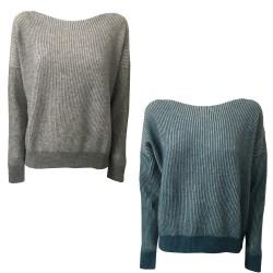 GAIA MARTINO maglia donna azzurro/bianco 70% lana 30% cashmere MADE IN ITALY