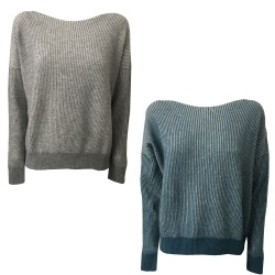 GAIA MARTINO women's sweater blue / white 70% wool 30% cashmere MADE IN ITALY
