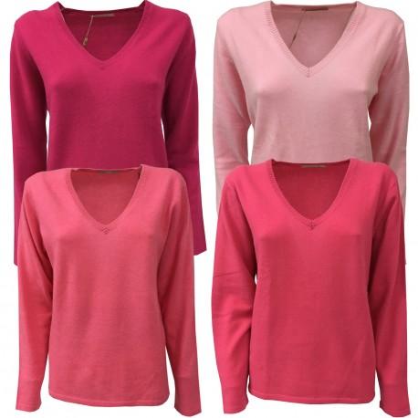 MONTAGUT maglia donna collo a v vestibilità regolare 100 % cashmere