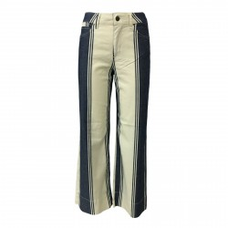 ATELIER CIGALA'S jeans donna a righe 15-167 PALAZZO CROP var RINSE MADE IN ITALY