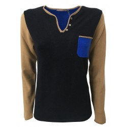 MONTAGUT women's sweater neck drop mod 502861 blue / bluette / camel 100% cashmere