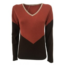MONTAGUT women's sweater v-neck mod 502860 brown / ocher / begie 100% cashmere