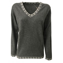 MONTAGUT women's gray v-neck sweater with fancy details pearl art 502873 100% cashmere