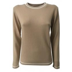 MONTAGUT camel crew neck woman details cream 502760 100% cashmere