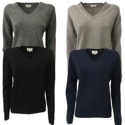 CA' VAGAN 100% cashmere women's sweater v-neck art BASIC-202