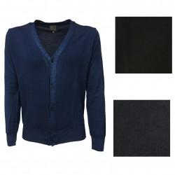 CA' VAGAN cardigan uomo blu chiaro tinto freddo 100% lana MADE IN ITALY