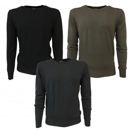 CA' VAGAN maglia uomo girocollo antracite 100% lana MADE IN ITALY vestibilità slim