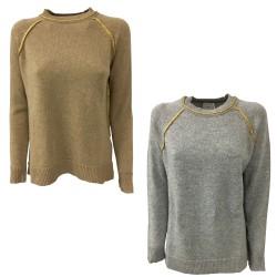 NODO maglia donna girocollo con inserti oro e spacchi mod TATL067 100% lana MADE IN ITALY