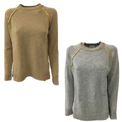 NODO women's crew-neck sweater with gold inserts and shawl TATL067 100% wool MADE IN ITALY