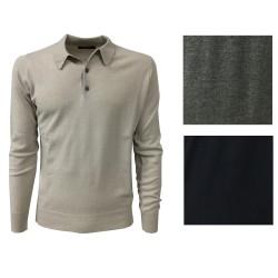 ALPHA STUDIO polo uomo blu 70% lana 30% cashmere