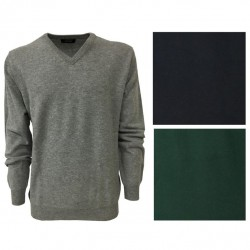 ALPHA STUDIO maglione uomo lana collo a V 100% lana gelong mod AU-4201A