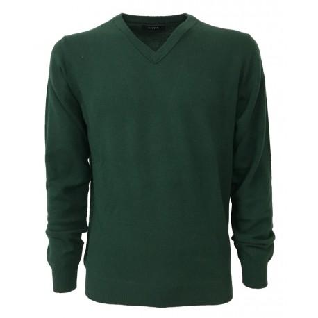 ALPHA STUDIO maglione uomo a V grigio 100% lana gelong