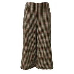 TADASHI pantalone donna corto quadri beige/nero/bordeaux elastico in vita tasche laterali MADE IN ITALY
