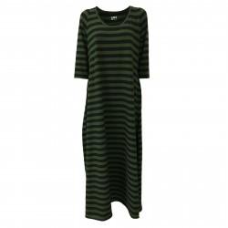 LABO.ART women's dress black/green stripes mod AVO 95% cotton 5% elastan MADE IN ITALY