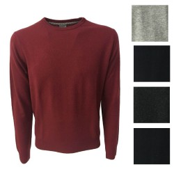 CA' VAGAN men's red lacquer round neck 90% merinos wool 10% cashmere