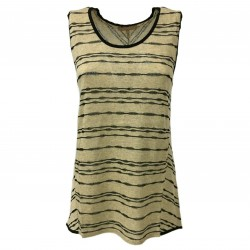 HUMILITY 1949 women's tank top beige/black 53% cotton 47% acrylic mod HA8057 MADE IN ITALY