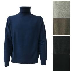 CA' VAGAN men's neck high black 90% wool merinos 10% cashmere Made in Mongolia