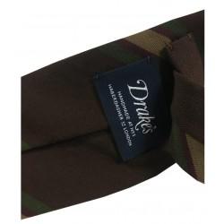 DRAKE'S LONDON cravatta uomo cm 8 sfoderata righe moro MADE IN ENGLAND