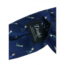 DRAKE'S LONDON man tie lined blue with a polo man, MADE IN ENGLAND
