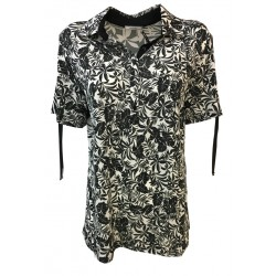 ELENA MIRÒ women's short sleeve polo shirt white / black 92% viscose 8% elastane