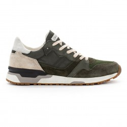 CRIME LONDON man's sneakers green leather and fabric art ESCAPE 11400PP1.83