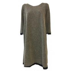 TADASHI abito donna manica 3/4 fantasia nero/beige con inserti taffettas nero MADE IN ITALY