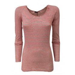 ASPESI white / red striped woman t-shirt 58% linen MADE IN ITALY