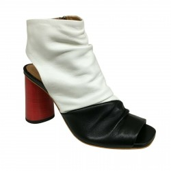HALMANERA women boot white/black with zip 100% leather mod GLORIA01 MADE IN ITALY