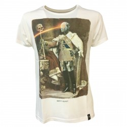 DIRTY VELVET t-shirt man white art ROBO KING DV53507 100% organic cotton