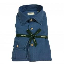 BORRIELLO NAPOLI camicia uomo denim operato art 8191-1 100% cotone MADE IN ITALY