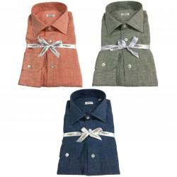 BORRIELLO NAPOLI man shirt long sleeve 100% linen MADE IN ITALY