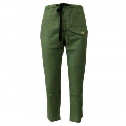 BKØ linea MADSON pantalone uomo lino verde con elastico DU19128 MADE IN ITALY