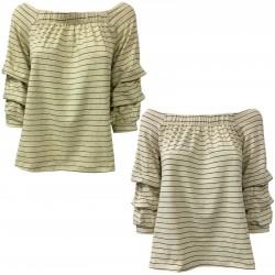 LA FEE MARABOUTEE maglia donna ecru righe cotone/lino art FB7053 MADE IN ITALY