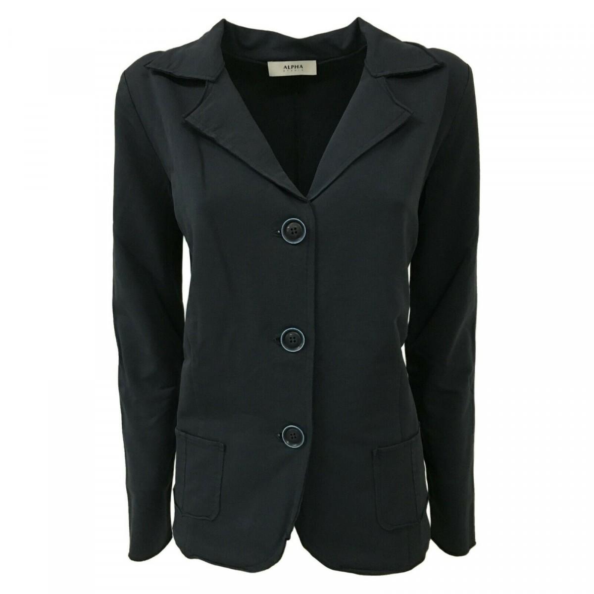 wholesale dealer 6800e 7f3df ALPHA STUDIO giacca donna cotone felpa garzata blu art AD-1720E MADE IN  ITALY