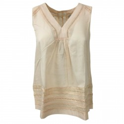 ALPHA STUDIO women's shirt sleeveless nude with lace art AD-1511A 100% cotton