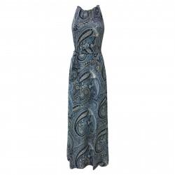 ALPHA STUDIO abito donna viscosa con cintura fantasia cashmere blu art AD-1612O